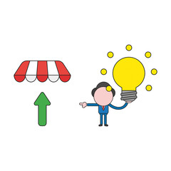 Vector illustration of businessman character holding glowing light bulb and pointing arrow up under store awning. Color and black outlines.