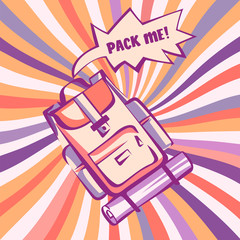 Backpacking, retro stylized illustration. Backpack with comic speech explosion and vintage colorful rays in pop art style. Vector image