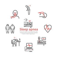Sleep Apnea banner. Symptoms, Treatment. Line icons set. Vector signs for web graphics.
