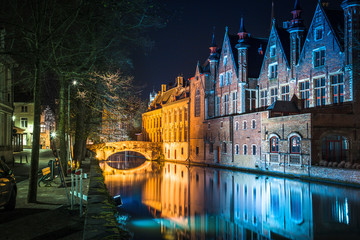 Historic city of Brugge at night, Flanders, Belgium