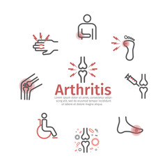 Arthritis banner. Symptoms, Treatment. Line icons set. Vector signs for web graphics.