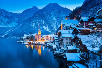 Hallstatt at twilight in winter, Salzkammergut, Austria