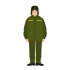 Soldier of Russian armed force wearing army winter uniform and fur hat. Military man, footman or infantryman isolated on white background. Male cartoon character. Flat cartoon vector illustration.