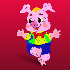 Character Jolly dancing pink pig, on a red background,