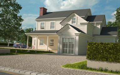 White American house