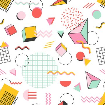 Seamless pattern with pyramids, cubes, circles, other geometric shapes and zigzag lines on white background