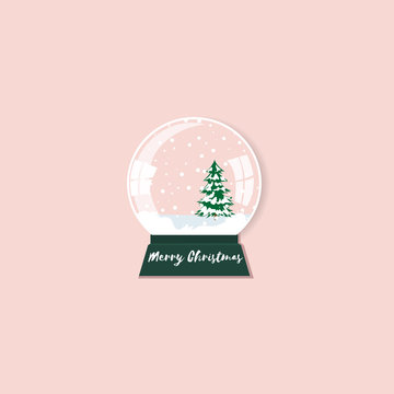 christmas snow globe with fir tree. Merry christmas glass ball with christmas tree. Flat design modern vector illustration concept on a pink background.