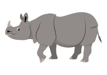 Cute wild animal with horn on nose, gray walking rhinoceros icon, vector illustration isolated on white background