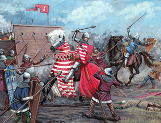 Medieval battle. Hussite wars. XVc. Historical illustration.