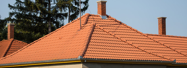 red roof and chimney