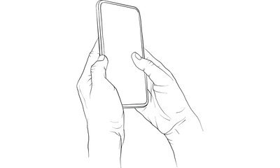hand holding mobile phone, vector