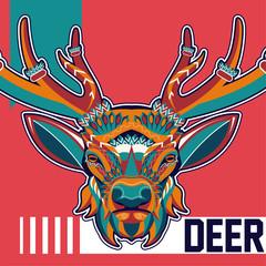 deer wild animal hunt logo - Vector