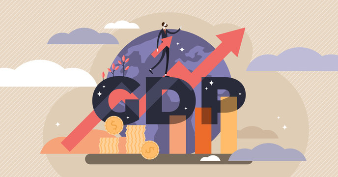 GDP vector illustration. Tiny persons concept with gross domestic product - GDP.