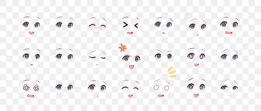 Emotions eyes of anime (manga) girls