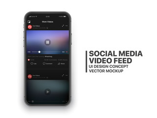 Social Media Video Feed Vector UI Concept for Social Network Facebook or Youtube in Dark Mode on Photo Realistic Iphone Screen Isolated on White Background. Online TV Watching on Mobile Device