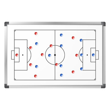 Soccer game tactical scheme shown on the whiteboard with blue and red magnets. Football pitch markup on marker board isolated on white background. Soccer match analysis scheme. Vector illustration