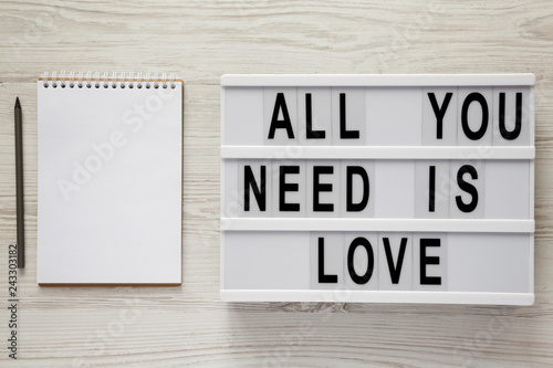 Modern board with text 'All you need is love', notepad with