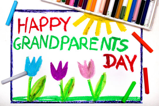 Colorful drawing: Grandparents Day card with tulip