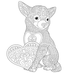 zentangle chihuahua dog coloring page