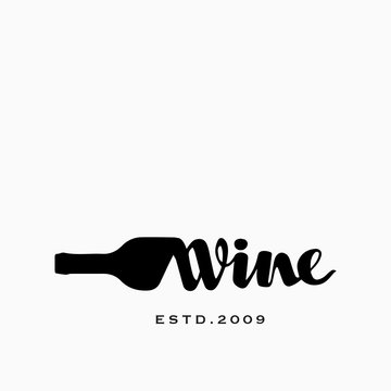 Bottle of Wine and Corkscrew Hand drawn Vector Logo Concept for Wine Shop