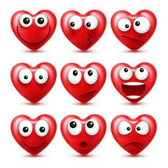 Heart Smiley Emoji Vector Set For Valentines Day. Funny Red Face With Expressions And Emotions. Love Symbol.