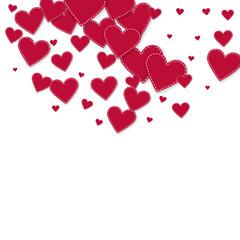 Red heart love confettis. Valentine's day semicirc