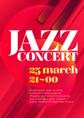 Vertical red music jazz background with piano keys, graphic elements and text.