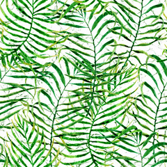 Tropical seamless pattern. Watercolor tangled palm
