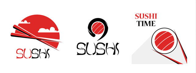 Set of sushi food logotype for asian food delivery