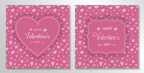 Set of Valentine's Day cards with hand drawn hearts. Vector