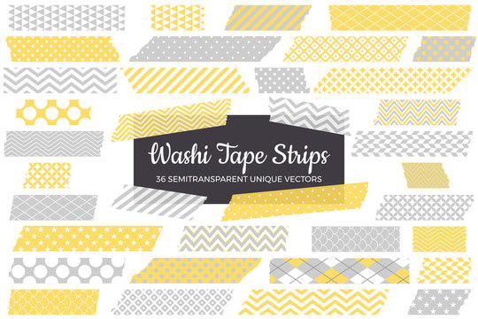 Pastel Yellow and Gray Washi Tape Strips with Torn Edges & Different Patterns. 36 Unique Semitransparent Vectors. Photo Sticker, Print / Web Layout Element, Clip Art, Embellishment