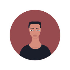 Young South East Asian or Indian handsome young man portrait icon Perfect front face view Black short hair Brown eyes tanned dark skin Guy Avatar profile picture for social media app Banner Backdrop.