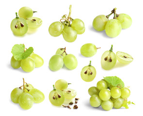 Fototapete - Set with fresh grapes on white background