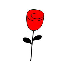 Rose flower blossom icon. Happy Valentines Day Love Greeting card. Red and black color silhouette. Bud and leaves. Flat design. White background. Isolated.