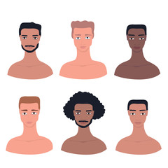 Young handsome man avatar Male profile picture Hand drawn cartoon character set Different nationality ethnicities collection African American Asian Caucasian Mixed Pacific Islander Guys Face portrait.
