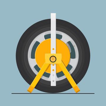 Car steel wheel lock vector flat design.