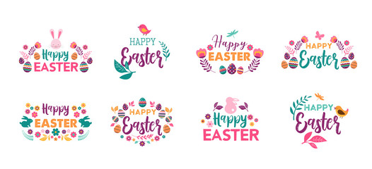 Happy Easter, vector symbols, logo, badges and lettering design