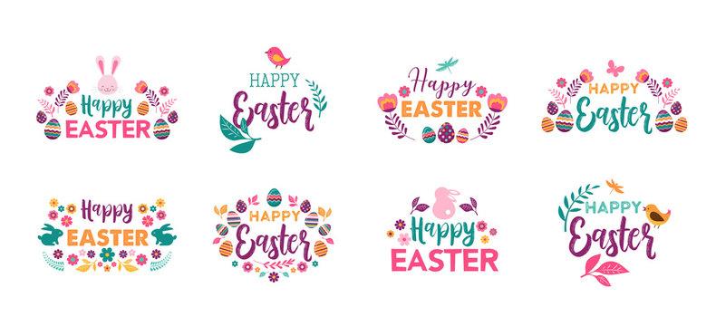 Happy Easter, vector symbols, logo, badges and lettering design