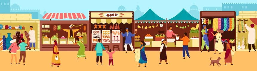 Arab or Asian outdoor street market, souk or bazaar. People walking along stalls, buying fruits, meat, traditional textile, oriental spices, pottery. Flat cartoon colorful vector illustration.