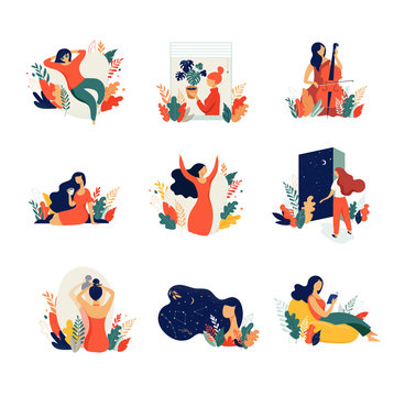 Feminine concept illustration, beautiful women in different situations. international women's day. Flat style vector design set stock vectors