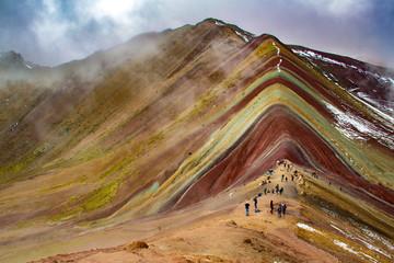 La splendida montagna dai sette colori, o montagna arcobaleno o Vinicunca. Cusco, Perù