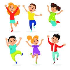 Happy school multiracial children