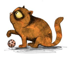 Niedliche Katze im Profil mit Spielball hebt die Pfote
