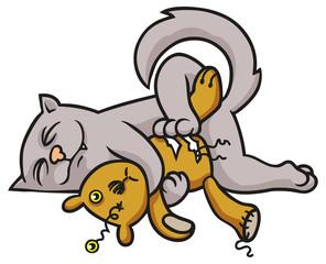 Katze mit einem vom Schmusen lädierten Teddybär
