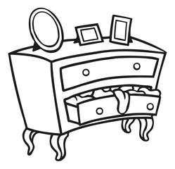 Alte Holz Kommode die vor Wäsche überquillt