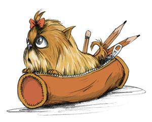 Kleiner Terrier Welpe sitzt in Federmappe