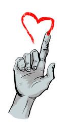 Hand malt rotes Herz in die Luft als Valentinstag Gruß