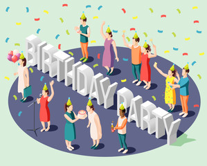 Birthday Party Isometric Design Concept