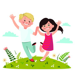 Happy boy and girl are jumping.