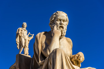 Statue of the Greek philosophers Socrates & Plato in front of the Academy pf Athens, Greece